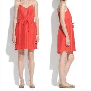 Madewell dress red silk Daybreak sleeveless
